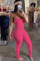 Rose Red Cami Top & Shirred detail Skinny Pants Sets YX9205