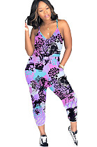 Multicolor Purple Side Pocket Cami Cropped JumpsuitLY5829
