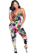 Multicolor Green Side Pocket Cami Cropped JumpsuitLY5829
