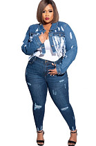 Long Sleeve Tassel Hem Fake Pocket Ripped Denim Plus Size Jacket
