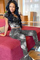 Tied-dye Black Crop Shirt Top & Mid-rise Ruffles Bottom Pants Set YT3203