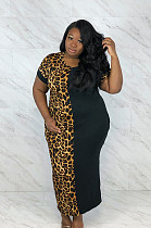 Leopard Graphic Half Patched Big Size Long Dress