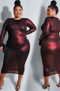 Burgundy Shinning Transparent Plus Size Long Dress QZ5268