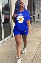 طقم قميص و شورت بطبعة زهور أمامية زرقاء YT3218
