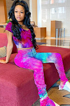 Tied-dye Rose Crop Shirt Top & Mid-rise Ruffles Bottom Pants Set YT3203