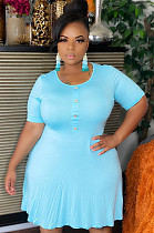 Light Blue Egg Shape Collar Fake Button Pleated Hem Plus Size Dress QZ6084