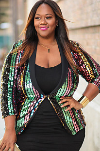 Multicolor Sequined Plus Size Jacket QZ3293