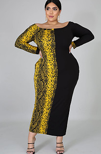 Snake Texture Collarless Plus Size Long Dress QZ3298