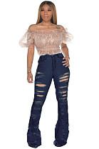 Dark Blue Ripped Bell-bottom Jeans Pants SMR2252
