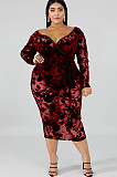 Wine Red Collarless Plunging Neck Flower Embroidered Details Long Dress QZ4076