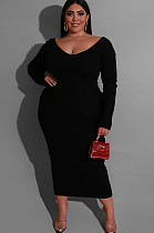 Black Solid Color Collarless Skinny Plus Size Long Dress QZ4083