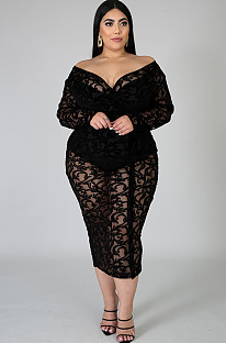 Black Collarless Embroidered Flower Details Plus Size Dress QZ4085
