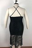 Black Spaghetti Strap Back Criss-cross Embroidered Hem Long Dress QZ4080
