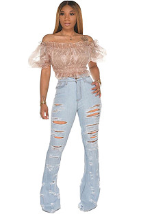 Light Blue Ripped Bell-bottom Jeans Pants SMR2252