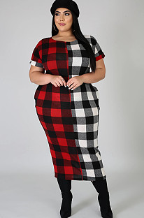 Two Tones Plaid Roll-up Sleeve Plus Size Dress QZ3299