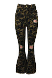 Ripped Bell-bottom Camo Pants JLX6863