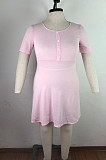 Pink Egg Shape Collar Fake Button Pleated Hem Plus Size Dress QZ6084