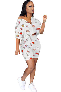 Food Graphic Random Print White Crop Top & Shorts Sets F8275