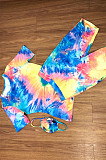 Tied-dye Shirt Top & Shorts Sets with Face Mask