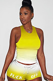 Gradient Orange Tanks Drawsting Top & Shirred Shorts Sets GL6262