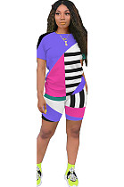 Purple Patched Color T-shirt & Shorts Sets GL6263