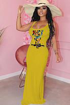 فستان طويل بطبعة شعار شعار أصفر F8274