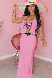 Pink Front SLogan Print Tank Long Dress F8274
