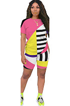 Pink Patched Color T-shirt & Shorts Sets GL6263