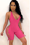 Yellow Side Knotted Open Back Strap Jumpsuit GL6265