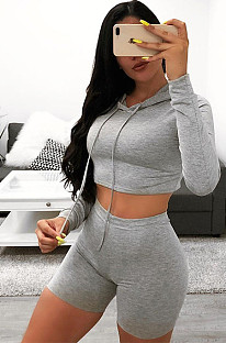 Solid Color Crop Ash Gray Hoodie & Shorts Sets GL6260