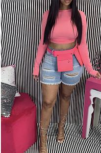 Pink Solid Color Crop Top GL6266