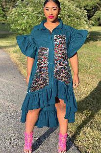 Lake Blue Front Sequins Patched Pleated Puff Sleeves Shirt Dress F8277
