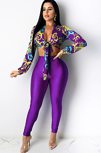 Purple Scraf Graphic Print Front Knotted CropTop & High-rise Pants Sets CM739