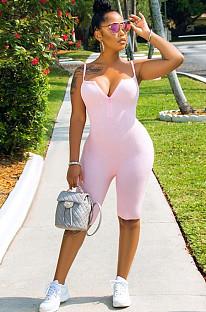 Pink Plunging Neck Cami Romper Jumpsuit TRS1020