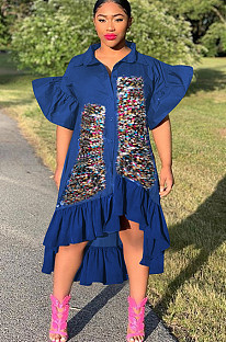 Royal Blue Front Sequins Patched Pleated Puff Sleeves Shirt Dress F8277