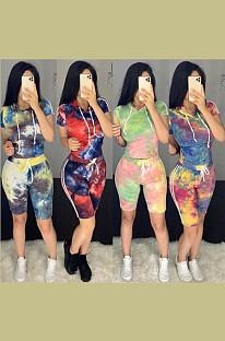 Tied-dye Drawstring Waist Hoddie Top & Elastic Self-tied Shorts Sets