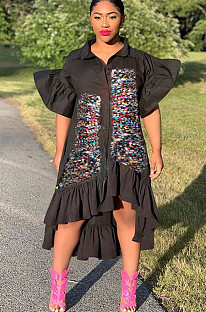 Black Front Sequins Patched Pleated Puff Sleeves Shirt Dress F8277