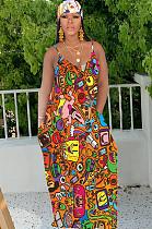 فستان كوميدي برتقالي فضفاض بطبعة عشوائية