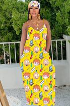 فستان كامي كوميدي أصفر بطبعة عشوائية