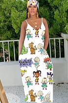 أبيض كوميدي جرافيكس طباعة عشوائية فستان كامي طويل فضفاض TRS1021
