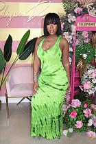 Длинное платье-майка из зеленой ткани для вечеринок и клубов SY8533
