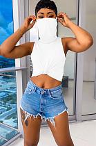 White Solid Color Off Shoulder Crop Shirt Top TRS1022