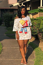 White  Bear Graphic Front Print Asymmertrical Shoulder Crop Top & Mini Skirt Sets LSN711