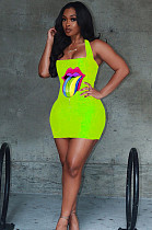 Green Mouth Graphic Front Print Halterneck Mini Dress LSN735