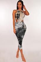 Черное длинное платье с завязкой на спине FM1080