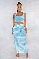Blue Marble Tank Top & Front Tied Shift Dress Set FMM1079