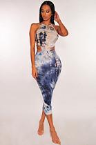 Синее длинное платье с завязкой на спине FM1080