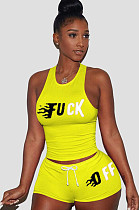 Yellow Front Words Print Tanks Top &  Shirred Self-tied Shorts Sets LSN742