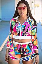 Colorblock Spliced front Zip-up Crop Shirt Top & Elastic Shorts Sets R6101