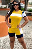مجموعات قميص وقميص Colorblock أصفر OEP6165